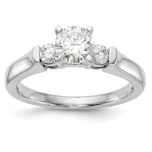 14K White Gold 3-Stone Engagement Mounting