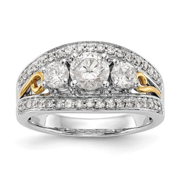 14K Two Tone 3-Stone Diamond Semi-Mount Engagement Ring
