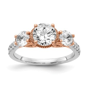 14k White & Rose Gold Diamond Semi-mount Engagement Ring