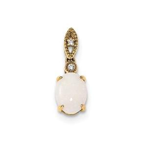 14k yellow gold oval Austrian opal and diamond pendant