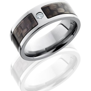 Men's 8 mm wide, flat, Titanium band with one 5 mm centered inlay of black Carbon Fiber with a centered in Titanium, flush set .07 round diamond with a polish finish.