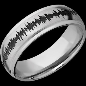 Men's 7 mm wide, concaved center with round edges, Cobalt Chrome band with a laser carved Soundwave pattern with a polish finish.
