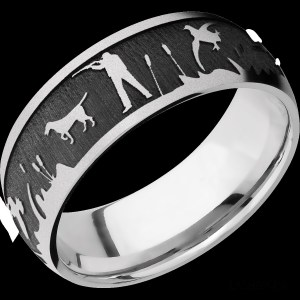 Men's 8 mm wide, domed, Cobalt Chrome band with a laser carved Duckhunt pattern with a bead finish.