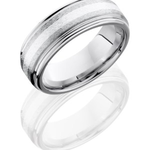 Men's 8 mm wide, flat, rounded edges, Cobalt Chrome band with one 2 mm centered inlay of sterling silver with a stone polish finish.