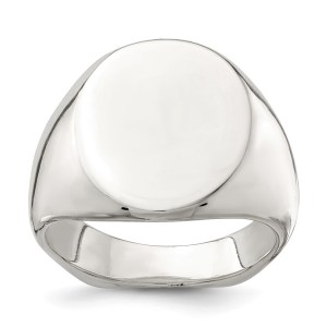 Men's sterling silver, open back, signet ring that measures 18 mm x 14 mm with a polished finish. This ring is engravable.