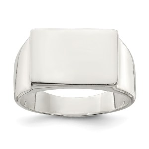 Men's sterling silver, closed back, signet ring that measures 11 mm x 15 mm with a polished finish. This ring is engravable.
