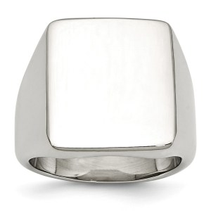 Men's stainless steel, rectangular signet ring with a polished finish. This ring is engravable.