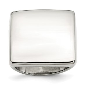 Stainless Steel, square, signet ring with a polished finish. This ring is engravable.