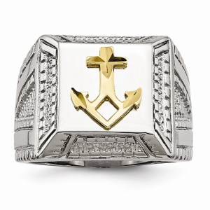 Men's stainless steel accented with a yellow IP-plated, sterling silver, anchor signet style ring with a polished finish.