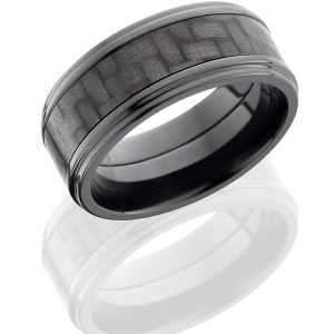 Men's 9 mm wide, flat grooved edges, Zirconium band with one 5 mm centered inlay of black Carbon Fiber with a polish finish.
