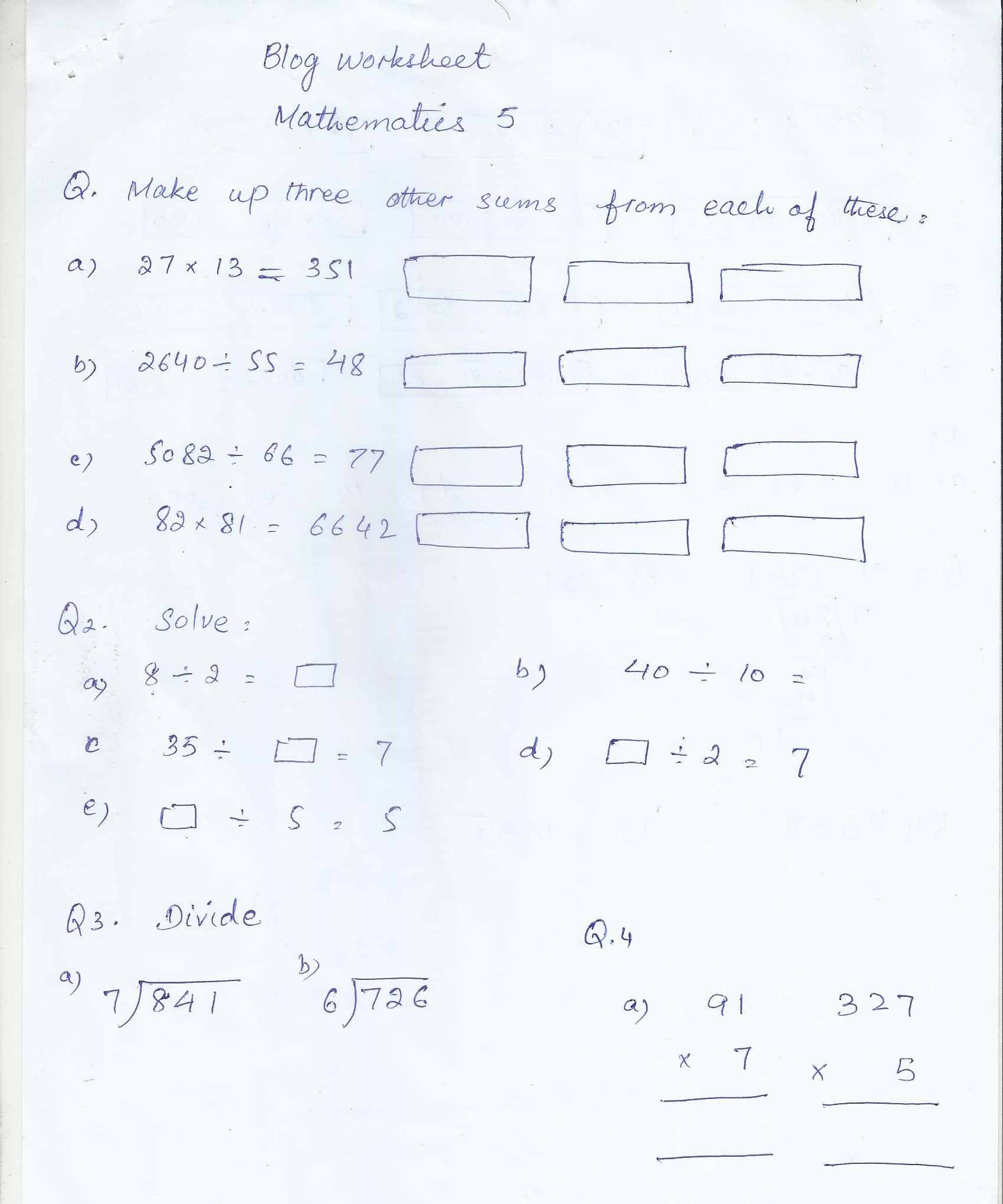 Math Blog Worksheet Class 5
