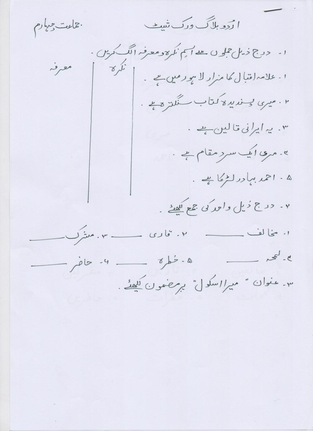 medium resolution of urdu-blog-worksheet-class-4-20-01-17 – PAF JUNIORS