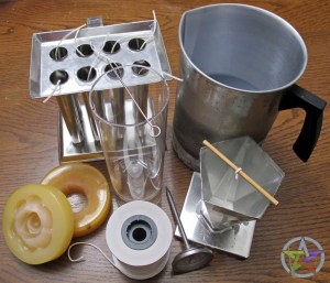 Basic candle making tools - molds, wick, thermometer, double boiler, melting pot