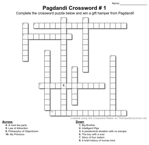Pagdandi Book Title Crossword #1