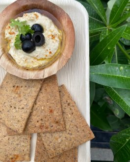Hummus Dip with Cumin and Chilli Sourdough Crackers