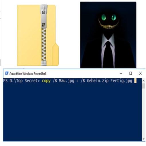 Zip Archive in JPG Bildern verstecken