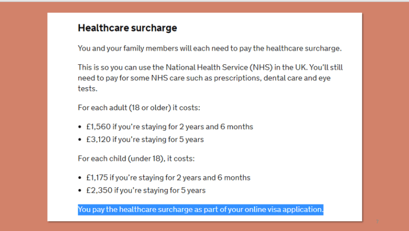 Applicants required to pay NHS fees