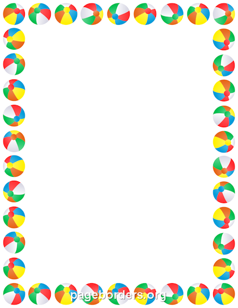 Beach Ball Border Clip Art Page Border and Vector Graphics