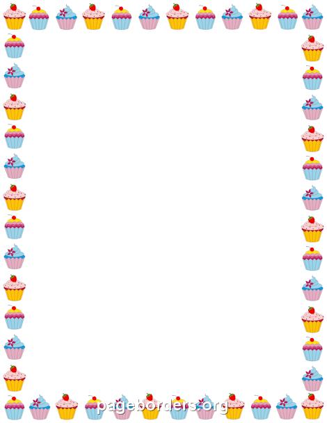 cupcake border clip art page