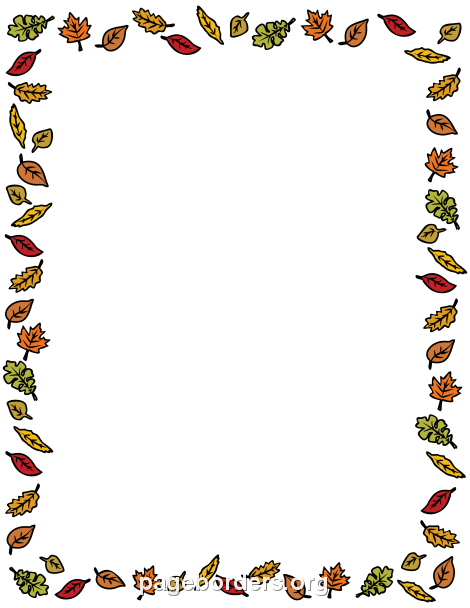 fall leaves border clip art page