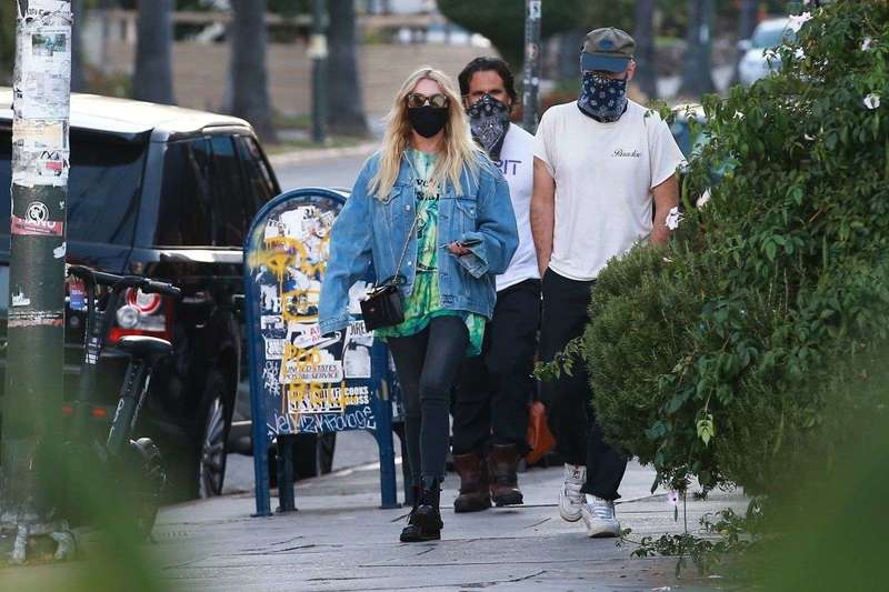 Ashley Benson with friends at Birds restaurant in Los Angeles