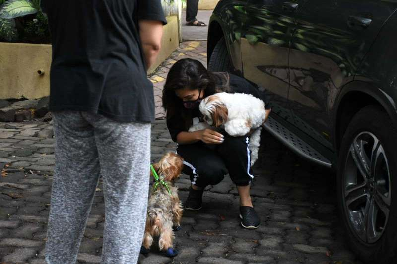 Sophie Chowdhary Playing with Puppies at bandra