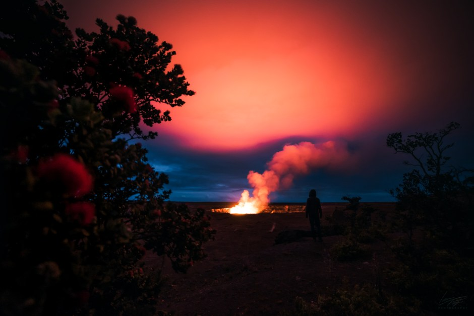 Volcanic Tides - Hawaii's Halemaumau lava plume lighting up the sky.