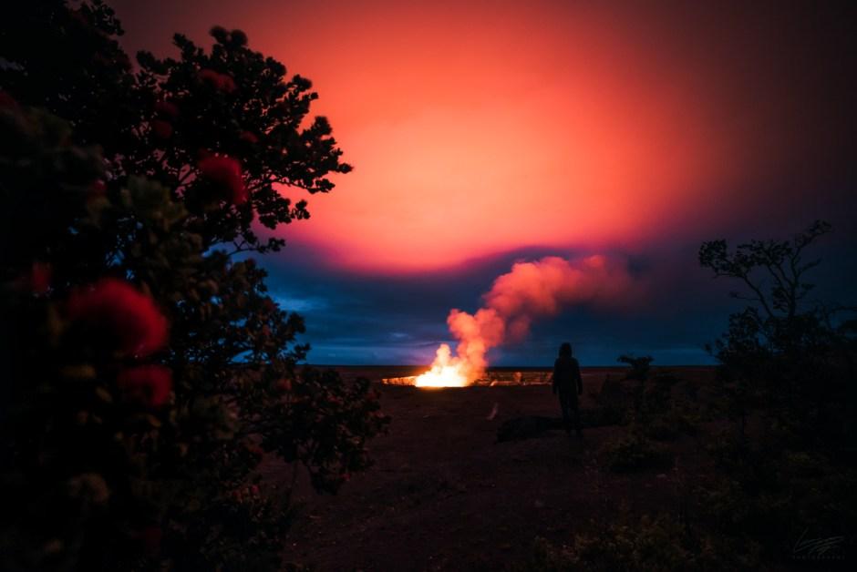 Volcanic Tides - Hawaii's Halemaumau lava plume lighting up the sky.