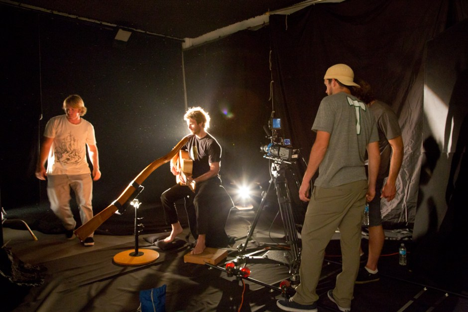 Trevor Green - Lonesome Road BTS, Studio crew shooting overlays.