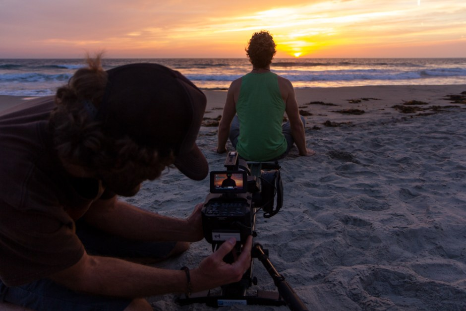 Trevor Green - Lonesome Road BTS, sunset shot at Blacks Beach.