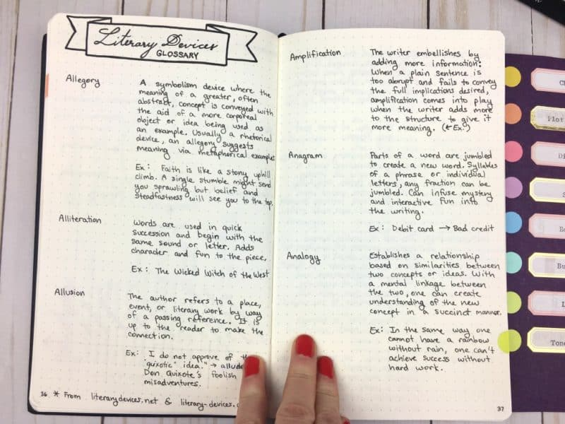 A page from my writing journal: Literary Device Glossary |pageflutter.com