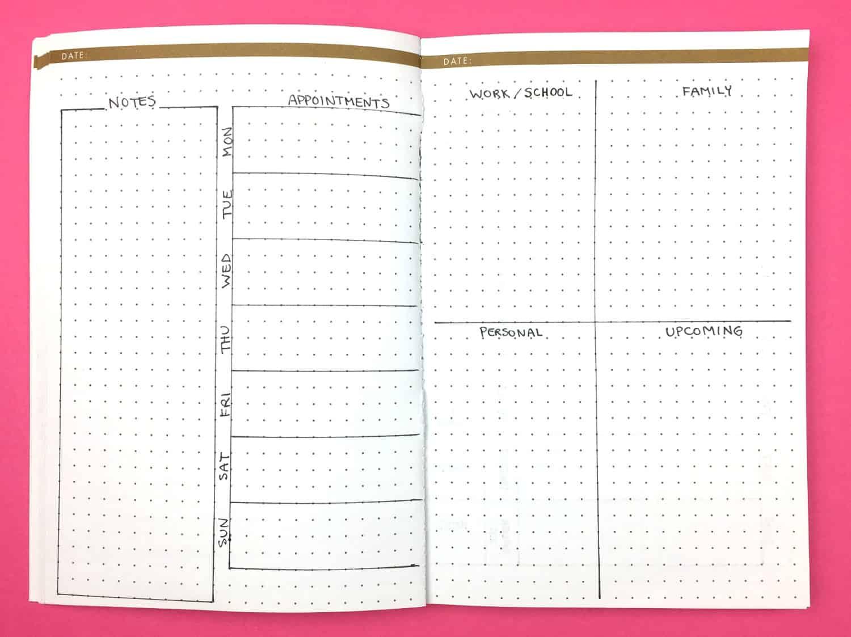 Weekly Bullet Template Journal Planner