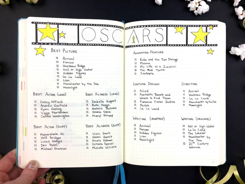 A Night At The Oscars In My Bullet Journal, Plus A Free Printable  Acceptance Speech