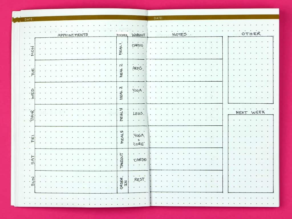 10 weekly bullet journal layouts to kickstart your productivity page flutter. Black Bedroom Furniture Sets. Home Design Ideas