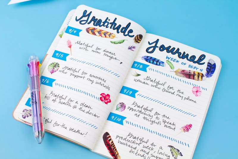 bullet journal page ideas, bullet journal weekly spread, Cratejoy shares 3 Bullet Journal self-care spreads for gratitude, mood tracking, and more!