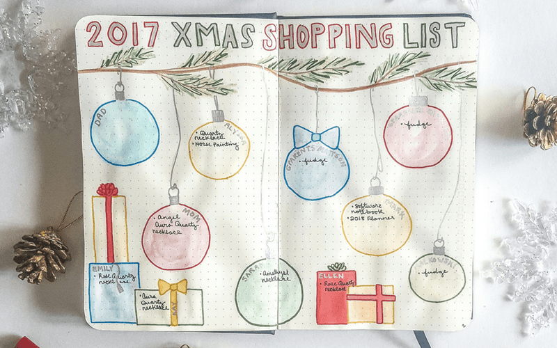 7 Christmas Gift Planning Bullet Journal Layout Inspirations Page