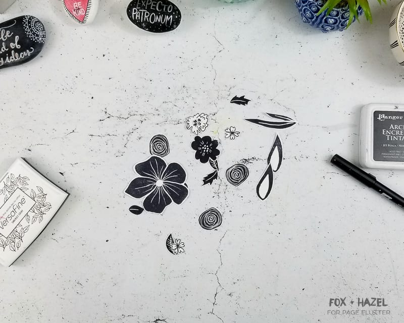 Create an easy watercolor art journal page with floral stamps   Fox + Hazel for pageflutter.com