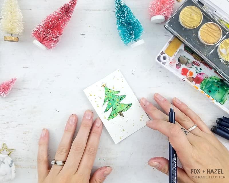 Watercolor Christmas Tree Gift Tags - Fox + Hazel for Page Flutter-Pin #giftwrapping #christmasDIY #watercolor #holidayDIY