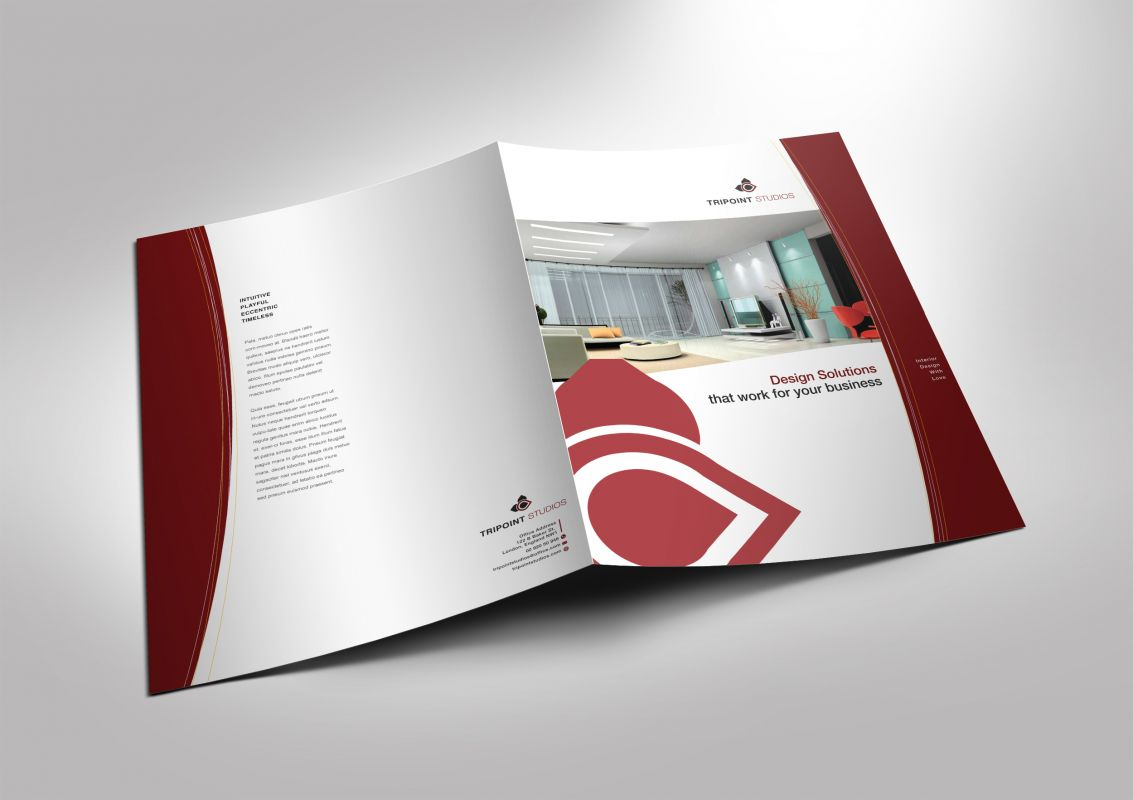 Half Fold Brochure Template For Design Company Marketing