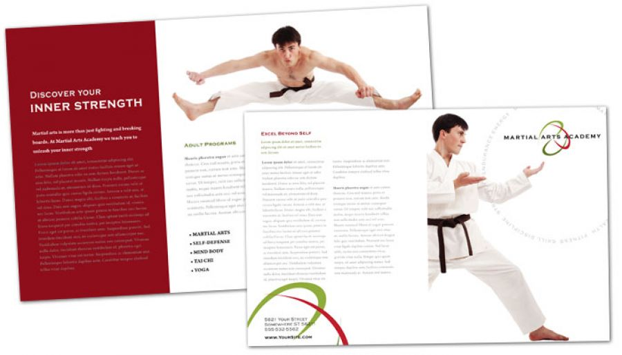 Half Fold Brochure Template For Martial Arts Instructor Schools