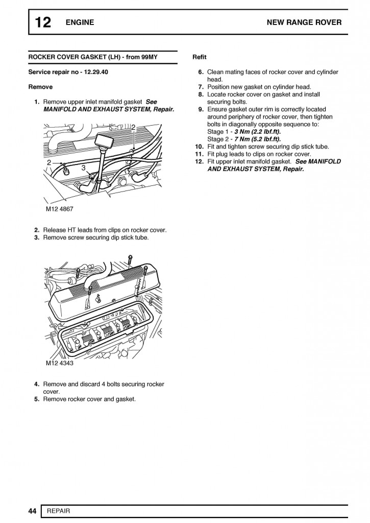 Range Rover (Mark II/P38) Workshop Service Repair Manual