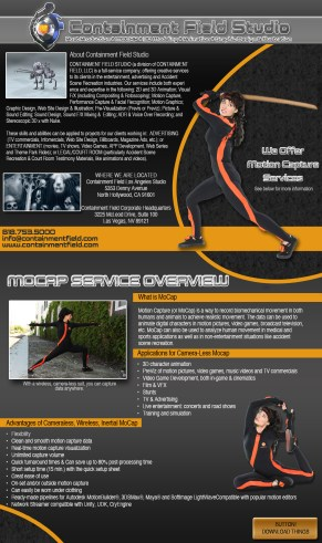 Containment Field motion capture service flyer. Photoshop, Indesign.