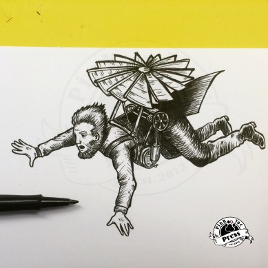 """Fearless Flyer"" ink drawing"