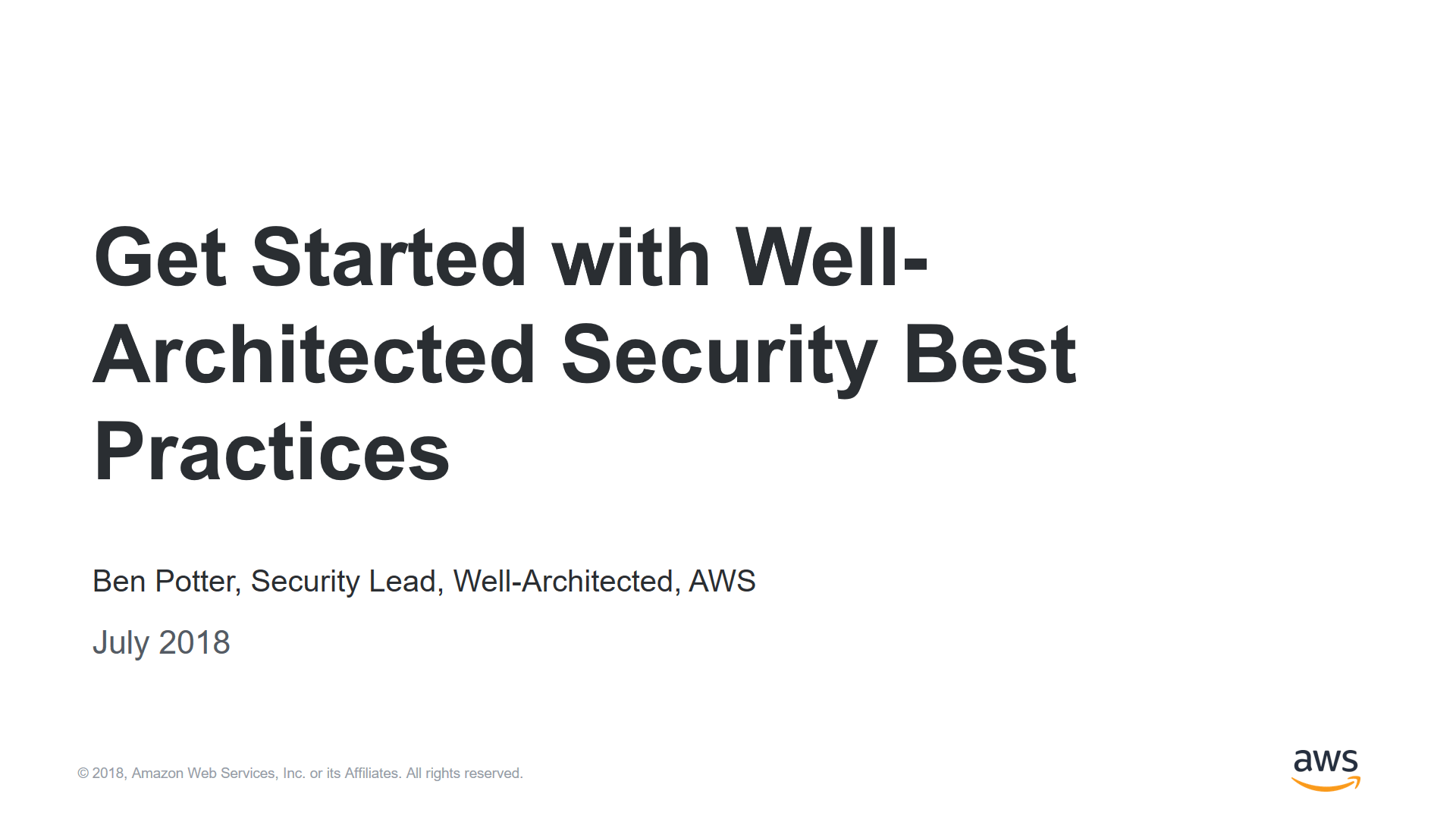 Get Started with Well-Architected Security Best Practices