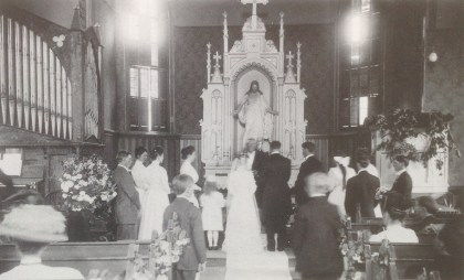 The only interior photo of the first church. The wedding of George Homnes and Frida Bue in 1909.