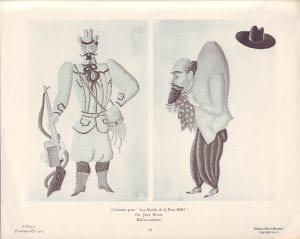 Costumes from Les Maries de la Tour Eiffel Jean Hugo, accessed from Flickr.com, https://www.flickr.com/photos/42399206@N03/7758662836.