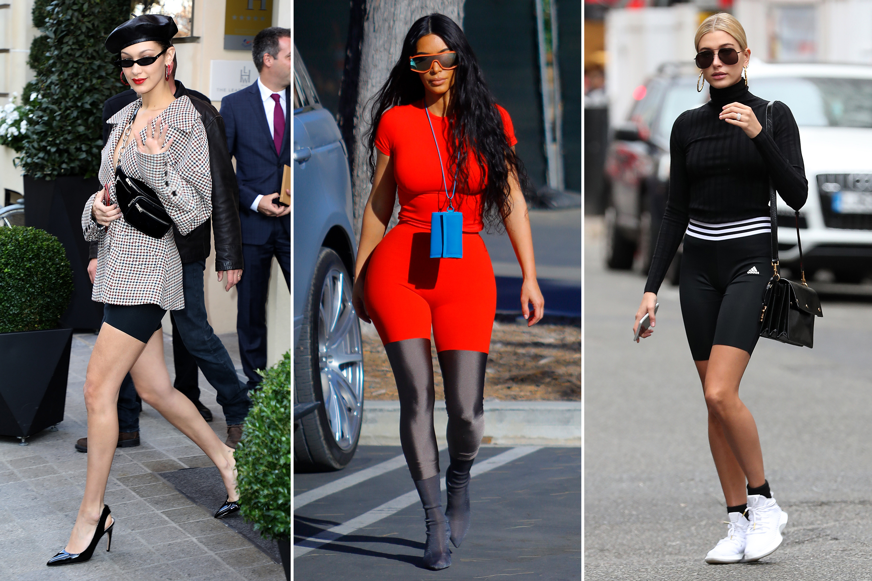Celebrities In Bike Shorts Kim Kardashian Kylie Jenner And More