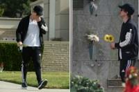 Ryan Dorsey tears up while visiting Naya Rivera's grave
