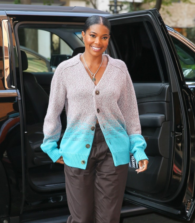Gabrielle Union is all smiles while arriving at the View in NYC