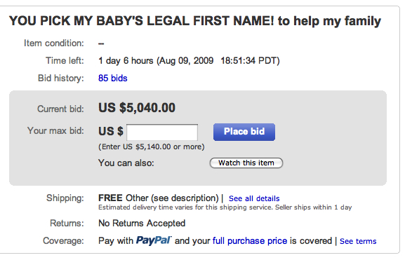 mom sells kids name on ebay